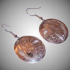 Sterling Silver Raven Whale Earrings
