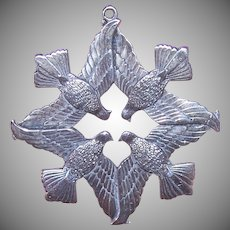 Wallace 1971 Dove Sterling Ornament Pendant