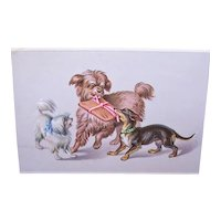French Tradecard Dogs Playing
