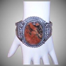 Sterling Brown Agate Cuff Bracelet