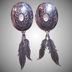 Sterling Mother of Pearl Feather Earrings
