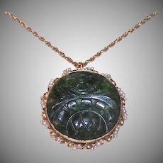 14K Gold Jade Natural Pearl Pendant