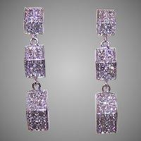 Estate 10K Gold .56CT TW Diamond Geometric Drop Earrings