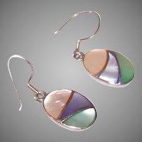Vintage Sterling Silver Earrings | Pastel Colors | Mother of Pearl Pierced Earrings