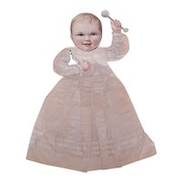 Handmade Antique Victorian Paper Doll of a Baby in Christening Outfit