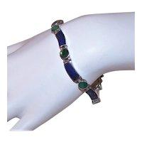 Sterling Silver Lapis Lazuli Malachite Link Bracelet