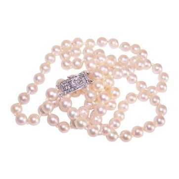 "18"" Double Strand 7.5mm x 7.5mm Cultured Pearl Necklace with Art Deco 18K Gold .75CT TW Diamond Clasp"