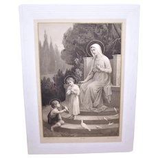 French Dated 1912 Antique Edwardian First Communion Souvenir | B&W Stand Up Engraving Virgin Mary Infant Jesus Infant John the Baptist