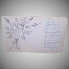 1884 Pencil Drawing of Rose