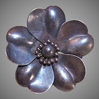 Antique Sterling Silver Floral Pin
