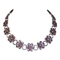 Vintage Danecraft Sterling Silver Floral Necklace