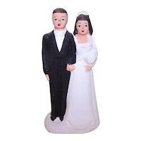 Vintage Made in Japan Bisque Chalkware Wedding Couple Cake Topper