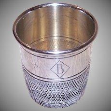 Deco Sterling Silver Shot Glass - Monogram B