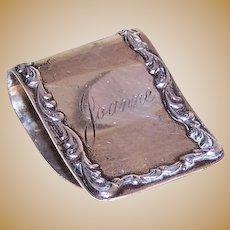 S Kirk & Son Sterling Napkin Holder engraved Joanne