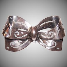 Coro Sterling Silver Bow Pin