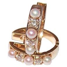 14K Gold Diamond Cultured Pearl Earrings