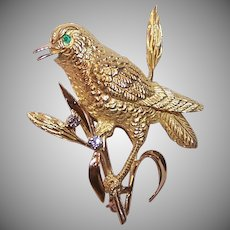 18K Gold Diamond Emerald Bird Pin