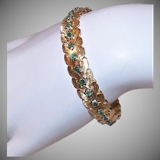 French Modernist 18K Gold Emerald Bracelet - 52.4 Grams