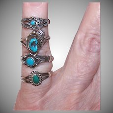 4 Sterling Turquoise Indian Rings