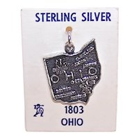 Sterling Silver US State Map Charm Ohio on Original Card