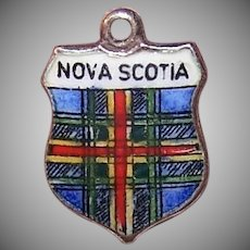 Sterling Enamel Travel Shield Charm Nova Scotia