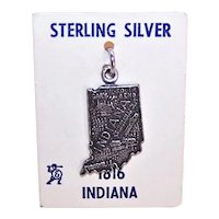 Sterling Silver US State Map Charm Indiana on Original Card