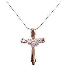10K Gold Diamond Cross Pendant Necklace