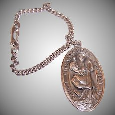 Sterling St Christopher Medal with Chain