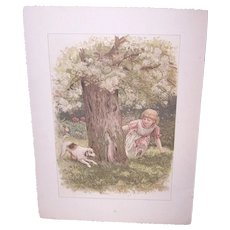 Antique Victorian Nursery Book Chromolithograph Print - Girl Playing with Dog