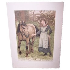 Antique Chromo Print - Girl with Pony