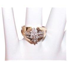 Vintage 14K Gold Diamond Cocktail Ring