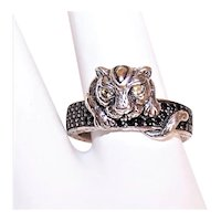 JAI Sterling Silver 14K Gold Leopard Pave Gemstone Band Ring