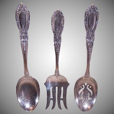 Towle King Richard Sterling Serving Spoons & Fork