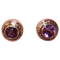14K Gold Amethyst Pierced Earrings