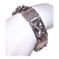 Retro Hand Hammered Sterling Silver 3D Link Bracelet of Florals