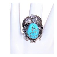 Native American Navajo Sterling Silver Turquoise Nugget Ring