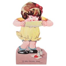 1940s Mechanical Valentine - Girl Eating Corn