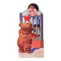 Art Deco Made in Germany Mechanical Valentine - Boy with Bear