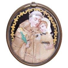 Antique Victorian Napoleon III French Religious Wall Plaque - Saint Anthony & Infant Jesus Under Glass
