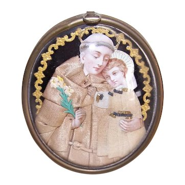 Antique Victorian Napoleon III French Religious Wall Plaque - Saint Anthony & Infant Jesus Under Glass