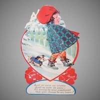 1940s USA Honeycomb Card | Little Girl Walking the Dog