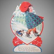1940s USA Honeycomb Card | Little Girl Walking the Dog