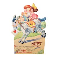 1940s USA Honeycomb Card | Boy & Girl on Hobby Horse