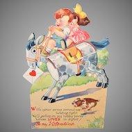1940s USA Honeycomb Card | Boy & Girl on Hobby Horse