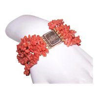 Antique Victorian Branch Coral Bracelet with 9K Rose Gold Clasp Monogram AMC