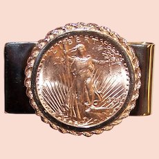 14K Gold Money Clip with 1924 St Gaudens $20 Coin