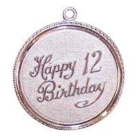Sterling Happy 12th Birthday Charm