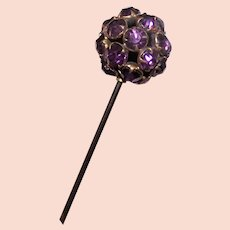 Antique Purple Rhinestone Hat Pin
