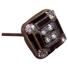 Antique Edwardian Hat Pin with Rhinestones & Enamel