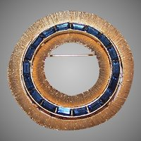 Gold Tone Metal Blue Rhinestone Pin